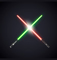 two realistic light swords crossed swords vector image
