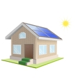 Vacation home Solar panels on roof Solar power vector image