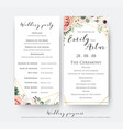 wedding program for party and ceremony card vector image vector image