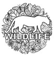 wildlife coloring page with leopard and tropical vector image vector image