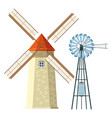 windmill and wind turbine vector image vector image