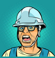 worker in a helmet screaming danger fright vector image vector image
