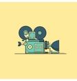 Retro vintage cinema film camera lineart vector image