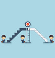 businessmen are stepping up the ladder to success vector image