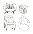 a set of different types of the chairs and vector image vector image