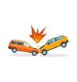 Accident road on street damaged automobiles after vector image vector image
