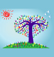 an abstract heart tree with vector image vector image