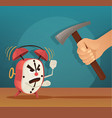 angry alarm character man try broken clock vector image vector image