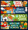 back to school education chalkboard lessons books vector image