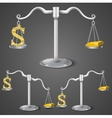 Balance between dollar and gold vector image vector image