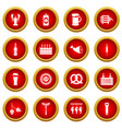 beer icon red circle set vector image