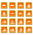 boat and ship icons set orange vector image vector image