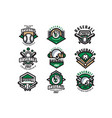 collection colorful baseball logos labels vector image