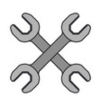 color image of pair of wrench tool crossed vector image vector image