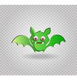 cute funny green cartoon bat on transparent vector image vector image