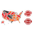 disaster composition of mosaic map of usa vector image vector image