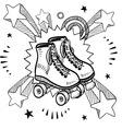 doodle pop rollerskates vector image vector image