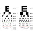 eyes test chart vision testing table ophthalmic vector image