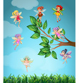 Fairies flying in the sky vector image vector image