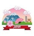 Fan japan culture design vector image