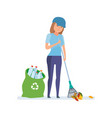 girl collecting plastic bottles cleaning garbage vector image