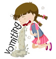 Girl vomiting and feeling sick vector image vector image