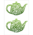 green tea concept kettle with floral ornament vector image vector image