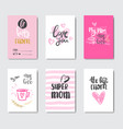 happy mother day set of greeting cards decorated vector image