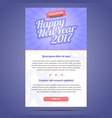 Happy New Year 2017 email template vector image vector image