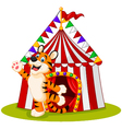 Happy tiger animal with circus tent vector image