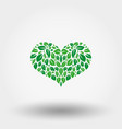 heart of green leaves icon flat vector image