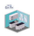 isometric floor plan of kitchen with worktop and vector image vector image