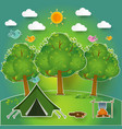 landscapehiking and camping vector image vector image