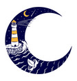 lighthouse and moon vector image