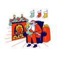 little girl character sitting on santa knees at vector image