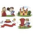 little king castle cartoon clipart color vector image