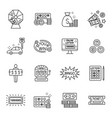 lottery and profit fortune games black icon set vector image