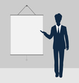 Manager stand near blank board presentation vector image