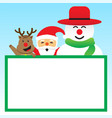 merry christmas - three friends and white board vector image vector image