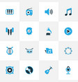 music colorful icons set collection of microphone vector image vector image
