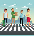 people crossing street urban background vector image