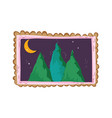 pines forest landscape in square frame on the vector image