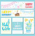 postcards and banners happy birthday vector image vector image
