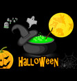 poster halloween cauldron with witch hat night vector image