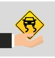 road sign slippery car icon vector image vector image