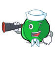 sailor with binocular brussels mascot cartoon vector image