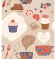 Seamless pattern Cups cakes vector image