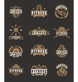 Set bodybuilding badges stickers isolated on vector image