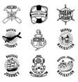 set hand drawn nautical emblems design vector image vector image
