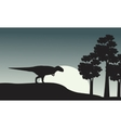 Silhouette of mapusaurus on the park vector image vector image